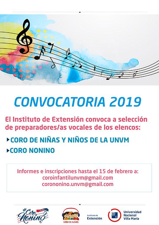 Convocatoria 2019 coros UNVM
