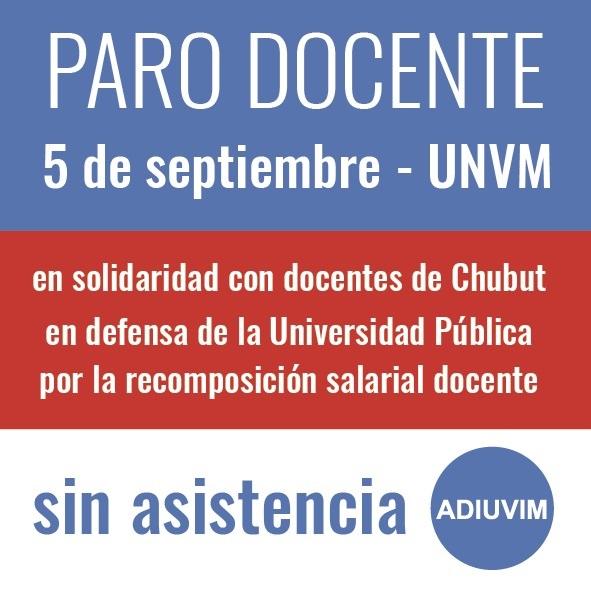 Adhesión al paro en solidaridad con los docentes de Chubut