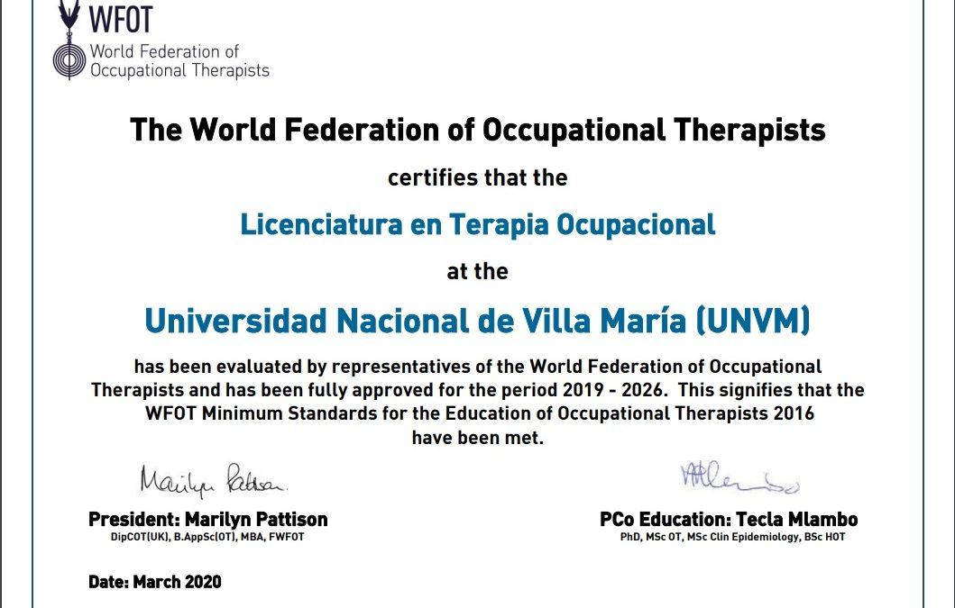 Certificación internacional para la Licenciatura en TO