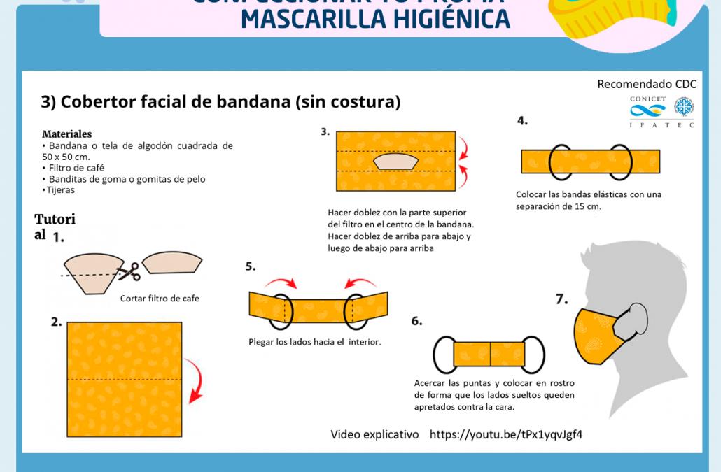 Mascarilla Higiénica: recomendaciones sobre uso, cuidados y fabricación