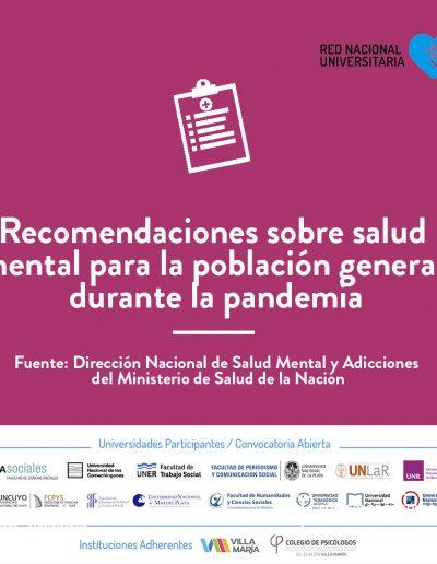 Recomendaciones de salud mental para la población general durante la pandemia
