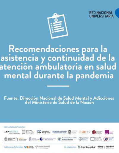 Recomendaciones para la asistencia y continuidad de la atención ambulatoria en salud mental durante la pandemia grupoA-2-01