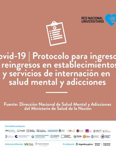 Protocolo para ingresos y reingresos en establecimientos y servicios de internación en salud mental y adicciones